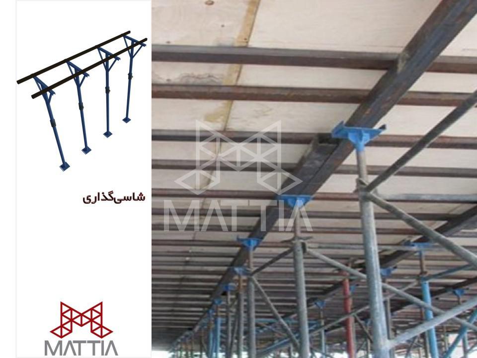 مرحله 1 در اجرای سقف وافل در یک ساختمان - شاسی گذاری