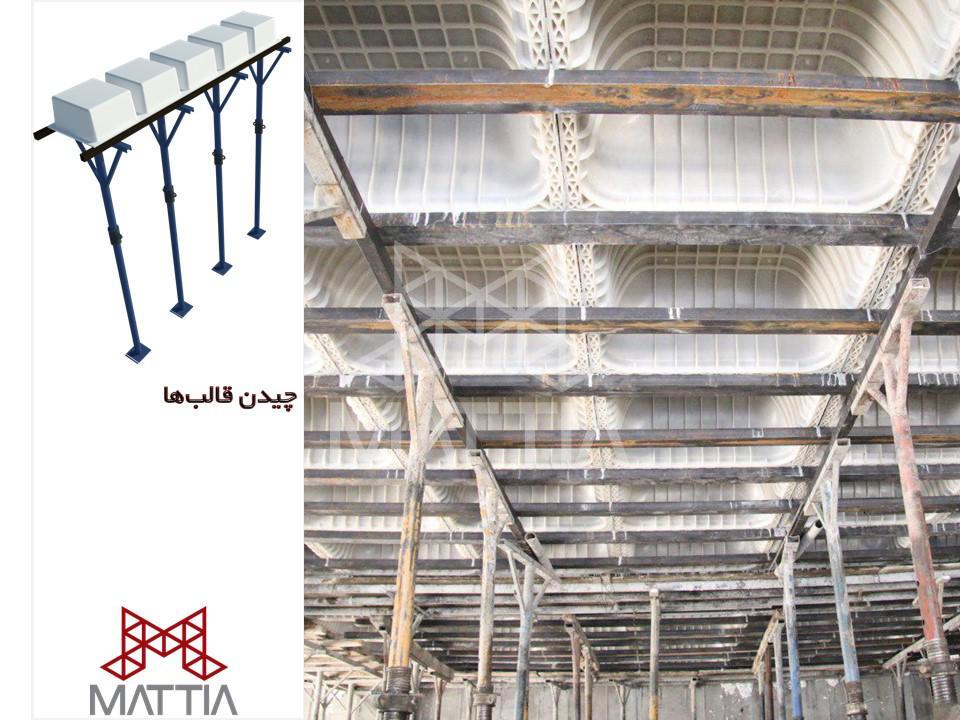مرحله 3 در اجرای سقف وافل در یک ساختمان - چیدن قالب های سقف