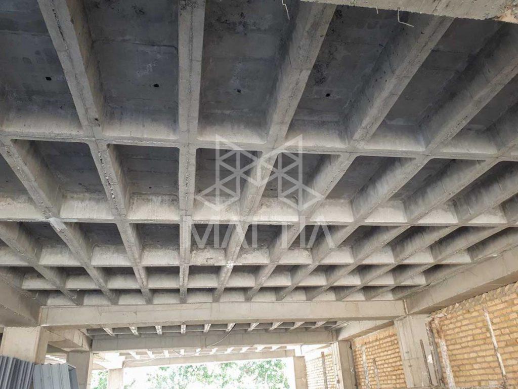 نمونه سقف قالب وافل یکطرفه بعد از اجرا - سقف وافل چیست؟ با بررسی مزایا و معایب اجرای سقف وافل