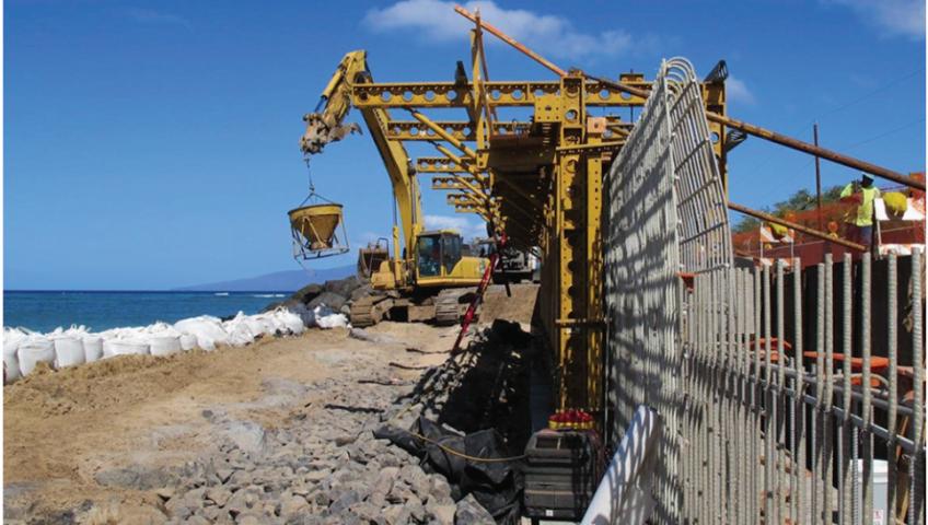 شکل 3: ساخت دیوار دریائی با استفاده از GFRP - آشنایی با کاربردهای بتن مسلح به آرماتور FRP و دلایل استفاده آن کاربردهای استفاده از بتن مسلح به آرماتور FRP در اروپا و آسیا