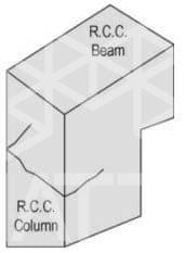 شکل 2: ترک های افقی ستون بتنی