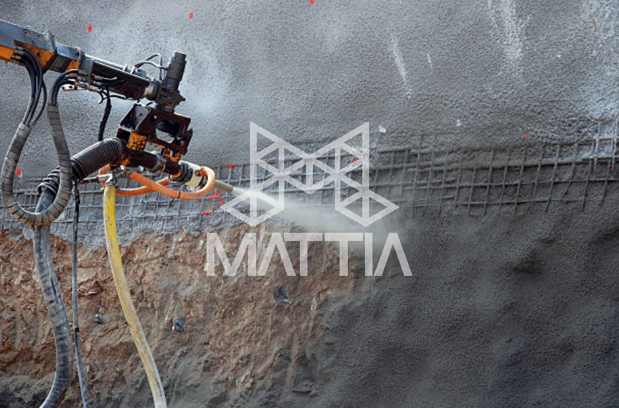 شکل 7 – بتنپاشی با الیاف فولادی به وسیلهی روبات بتنپاش